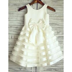 Princess Ivory Stripe Knee-length Flower Girl Dress - Satin Sleeveless