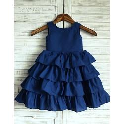 Princess Navy Blue Knee-length Flower Girl Dress - Taffeta Sleeveless
