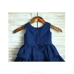 Princess Navy Blue Knee-length Flower Girl Dress - Taffeta Sleeveless Flower Girl Dresses