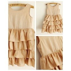 A-line Knee-length Flower Girl Dress - Linen Sleeveless