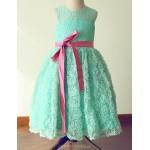 Princess Tea-length Flower Girl Dress - Lace/Satin Sleeveless Flower Girl Dresses