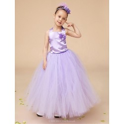 Flower Girl Dress Floor Length Satin Tulle Ball Gown Sleeveless Dress(Headpiece And Corsage Include)