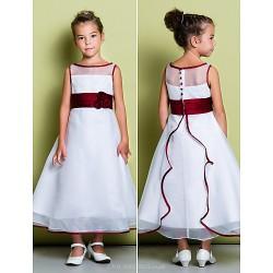 A Line Ankle Length Flower Girl Dress Organza Sleeveless