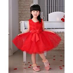 Flower Girl Dress Knee Length Tulle Princess Sleeveless Dress