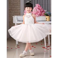 Flower Girl Dress Lace Halter Ankle Length Tulle Princess Sleeveless Dress
