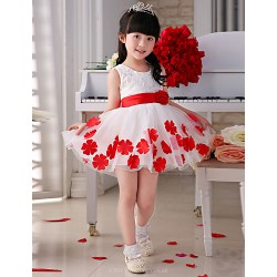 Princess Knee Length Flower Girl Dress Satin Tulle Sleeveless