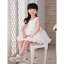 Princess Knee-length Flower Girl Dress - Lace/Organza Sleeveless