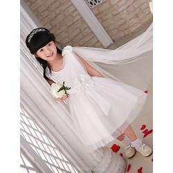Flower Girl Dress Knee Length Satin Tulle Princess Sleeveless Dress