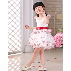 Princess Knee-length Flower Girl Dress - Organza/Satin Short Sleeve