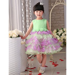 Flower Girl Dress Knee Length Organza Tulle Princess Sleeveless Dress