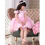 Flower Girl Dress Knee-length Lace/Organza Princess Short Sleeve Dress Flower Girl Dresses