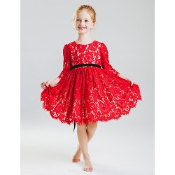 Princess Knee Length Flower Girl Dress Cotton Lace 3 4 Length Sleeve