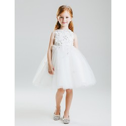Princess Knee Length Flower Girl Dress Lace Satin Tulle Sleeveless