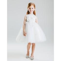 Princess Knee-length Flower Girl Dress - Lace/Satin/Tulle Sleeveless