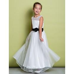 A Line Floor Length Flower Girl Dress Tulle Sleeveless
