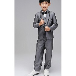 Ring Bearer Suit Silver Uniform Cloth 5 Suit Flower Girl Dress