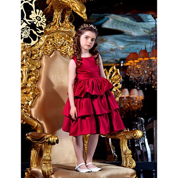 Engagement Party / Bridal Shower / Formal Evening / Wedding Party Dress - Burgundy A-line / Ball Gown / Princess Jewel Knee-length Satin Flower Girl Dresses