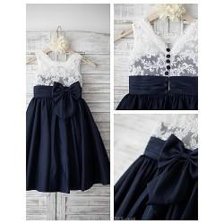 A Line Knee Length Flower Girl Dress Lace Taffeta Sleeveless