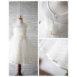 A-line Knee-length Flower Girl Dress - Lace Sleeveless
