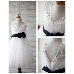 A Line Knee Length Flower Girl Dress Lace Tulle Sleeveless