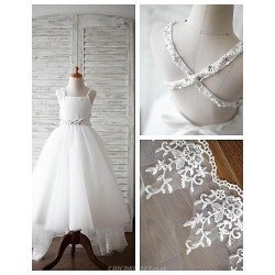 A Line Asymmetrical Flower Girl Dress Lace Satin Tulle Sleeveless