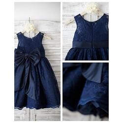 A-line Knee-length Flower Girl Dress - Lace Sleeveless