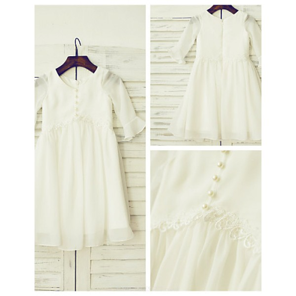 A-line Knee-length Flower Girl Dress - Chiffon / Lace 3/4 Length Sleeve Flower Girl Dresses