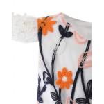 Ball Gown Knee-length Flower Girl Dress - Cotton / Satin Short Sleeve Flower Girl Dresses