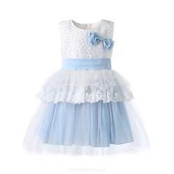 Girl Blue Sleeveless Peplum Lace Wedding Party Dresses