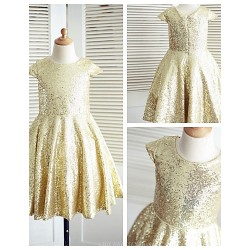 A-line Knee-length Flower Girl Dress - Sequined Short Sleeve