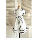 A-line Knee-length Flower Girl Dress - Cotton Short Sleeve Flower Girl Dresses