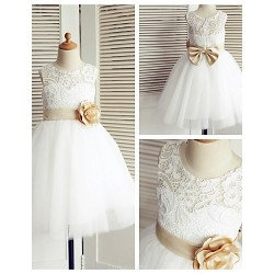 A Line Knee Length Flower Girl Dress Lace Tulle Sleeveless