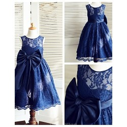 A Line Tea Length Flower Girl Dress Lace Satin Sleeveless