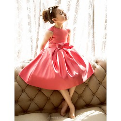 A Line Princess Tea Length Flower Girl Dress Satin Short Sleeve