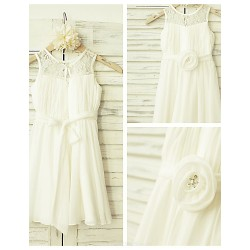A-line Knee-length Flower Girl Dress - Chiffon / Lace Sleeveless
