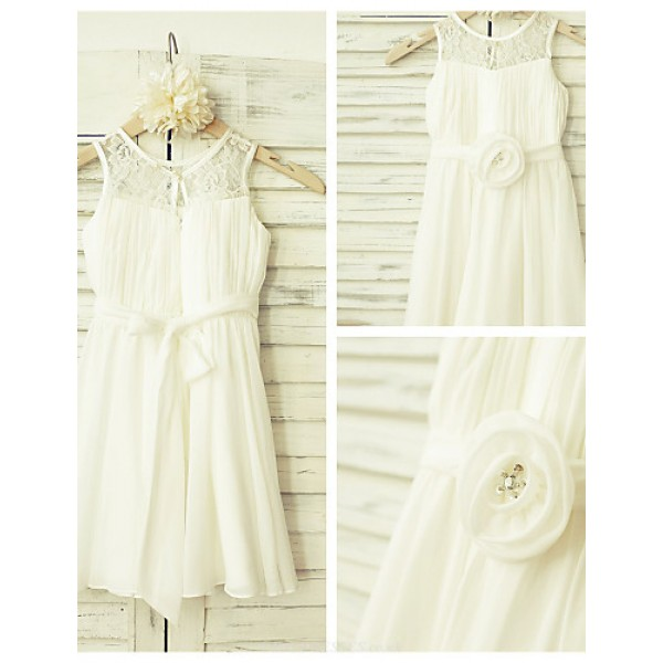 A-line Knee-length Flower Girl Dress - Chiffon / Lace Sleeveless Flower Girl Dresses