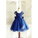 A-line Knee-length Flower Girl Dress - Lace / Tulle Short Sleeve Flower Girl Dresses