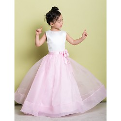 A Line Floor Length Flower Girl Dress Organza Satin Sleeveless