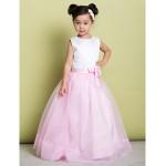 A-line Floor-length Flower Girl Dress - Organza/Satin Sleeveless Flower Girl Dresses