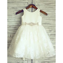 Ivory Beaded Sash Knee Length Flower Girl Dress Lace Sleeveless