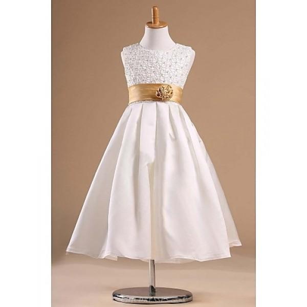 Flower Girl Dress Tea-length Satin/Tulle Princess Sleeveless Dress Flower Girl Dresses