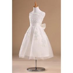 Flower Girl Dress Tea Length Satin Tulle Princess Sleeveless Dress