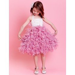 Ball Gown Tea-length Flower Girl Dress - Satin Sleeveless