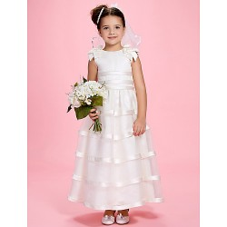 A Line Princess Ankle Length Flower Girl Dress Satin Organza