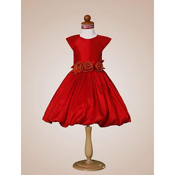 A-line/Princess/Ball Gown Knee-length Flower Girl Dress - Taffeta Short Sleeve Flower Girl Dresses