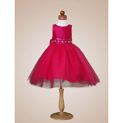 Ball Gown Knee Length Flower Girl Dress Tulle Taffeta Sleeveless