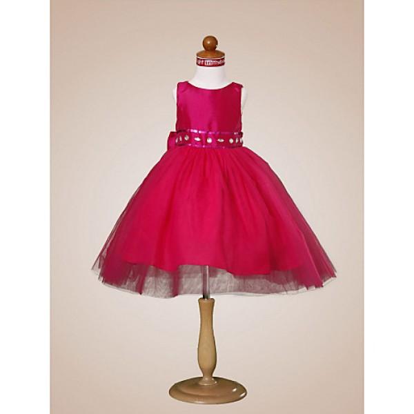Ball Gown Knee-length Flower Girl Dress - Tulle/Taffeta Sleeveless Flower Girl Dresses