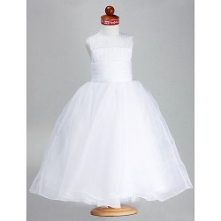 Ball Gown Ankle Length Flower Girl Dress Satin Organza Sleeveless