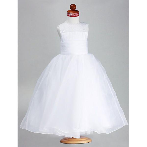 Ball Gown Ankle-length Flower Girl Dress - Satin/Organza Sleeveless Flower Girl Dresses