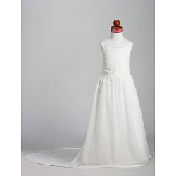A-line/Princess Court Train Flower Girl Dress - Chiffon/Satin Sleeveless